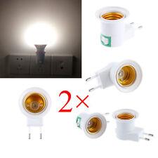 2pcs EU Plug E27 Base LED Light Lamp Holder Bulb Adapter Screw Socket ON/OFF