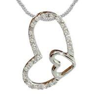 Pave 0,70 Cts Runde Brillant Cut Diamanten Herz Anhänger In Feinen 14K Weißgold