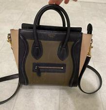 Auth CELINE Nano Luggage Shopper Leather Tote Bag