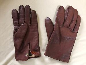 Dents Mens Brown Leather Gloves British Medium Man Vintage Classic Winter