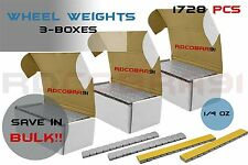 3 Boxes of 1/4oz Wheel Weights Low Pro Grey 576 Pieces per Box | 1728 Total Pcs