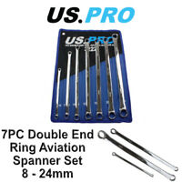 US PRO 7pc Aviation Double Ended Ring Extra Long Spanner Set 8 - 24mm 3222