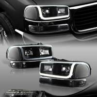 For 1999-2006 GMC Sierra 1500 2500 DRL LED Black Clear Headlights+Bumper Lamps