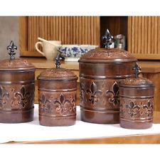 4 Piece Canister Set Antique Copper Decorative Cookie Jar Kitchen Collectible