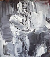 Heiko Pippig *1951:Leipziger Schule, Sportler Männerakt 165 x 145 cm Acryl 90er