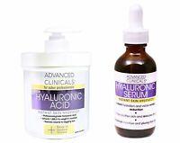 Advanced Clinicals Hyaluronic Acid Skin Care Set 16oz Cream and 1.75oz Serum