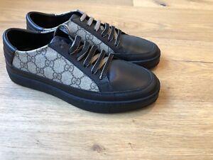 NWB Gucci GG Supreme Men Sneakers Size Gucci 5.5/US 6.5 Black Leather/Beige GG