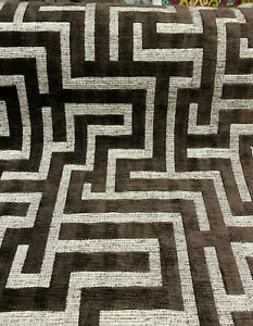 Tetris Brown Chenille Upholstery Geometric Fabric By The Yard