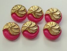 6 Pink And Shiny Gold, Vintage Button, Plastic, Shank Back 18mm, Paisley Pattern