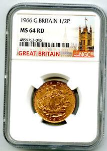 1966 GREAT BRITAIN 1/2 P HALF PENNY NGC MS64 RD GOLDEN HIND DESIGN HALFPENNY
