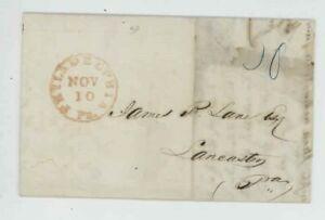 Mr Fancy Cancel Stampless Red Philadelphia PA Lancaster PA 1843 FLS #556