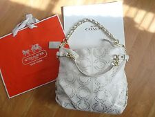 RARE COACH Brooke Perforated Off White/Gold Dotted Op Art Signature Shoulder Bag
