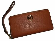 New-michael Kors Fulton Pebbled Luggage Brown Coin Phone Case Wristlet Wallet
