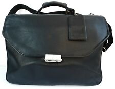 Hartmann Black Leather Triple Gusset Flapover Briefcase Combination Lock USA