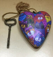 Laurel Burch Ornament Heart Cat HOLIDAY Key art hearts
