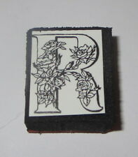 "R Rubber Stamp Foam Mounted Letter Initial Flowers Roses NOS 1"" High All Night"