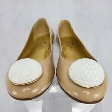 RARE Kate Spade On Par Golfball Tee Shoes Ballet Flats Nude Beige Leather Size 6