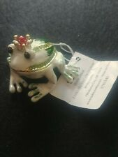 Crowned Frog With Green Rhinestones Figurine Jewelry Trinket Box # 1783141