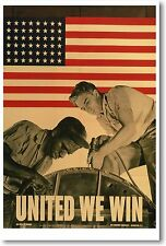 United We Win - NEW Vintage War WW2 Art Print POSTER