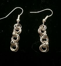 Handmade mobius flower triple drop silver chain maille earrings.  NWOT