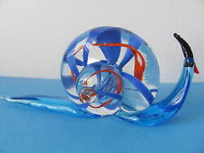Glass Snail  Clear with Blue- 4 Inches- Cute - NEW