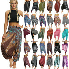 Womens Loose Harem Pants Boho Gypsy Yoga Baggy Hippie Aladdin Palazzo Trousers