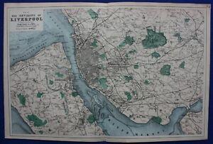 ENVIRONS OF LIVERPOOL, original antique map, Weller, Bacon, 1884