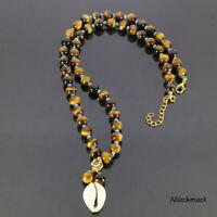 Herren Kauri Muschel Shamballa Halskette 8mm Tigerauge Perlen verstellb