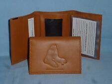 BOSTON RED SOX   Leather TriFold Wallet   NEW!  tan bb sox