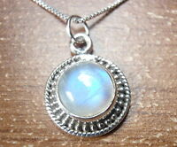 Round Moonstone with Silver Dot Accents 925 Sterling Silver Pendant