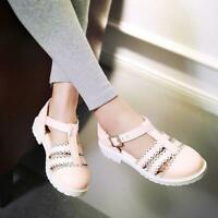 Cute Womens Ankle Buckle Strap Pump Flat Lolita Mary Jane Summer Ladies Shoes