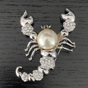 Kristall und Perle Scorpian Stil Brosche Made with Swarovski Elements