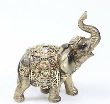 "Feng Shui 4"" Bronze Elephant Trunk Statue Wealth Lucky Figurine Gift Home Decor"