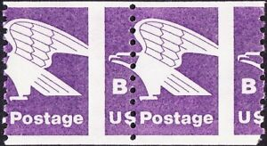 US - 1981 - (18 Cents) Purple Non-Denominated Eagle B Stamp 1820 Misperf Pair NH
