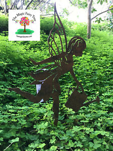 Metal rustic fairy silhouette garden stake art ornament garden decor