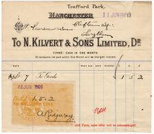 (I.B) Edward VII Revenue : Receipt Note (Kilvert & Sons Lard - Manchester)