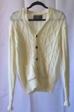 Mens XL sweater cream cardigan vintage cableknit Youngbloods Acrylic