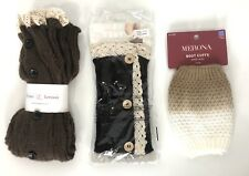 Womens Boot Cuff Lot Of 3 Leg Warmers Brown Crochet Lace Buttons