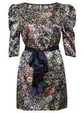 LADIES DRESS PATTERNED FASHION PARTY MAXI EVENING BALL GOWN NEW  SILK BELTED NEW