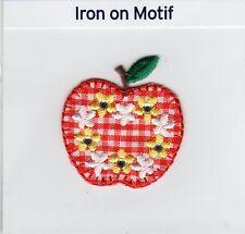Apple sur rouge vichy iron on applique écusson patch, brand new