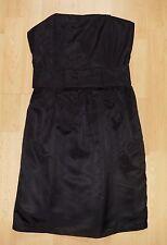 Vestido De Fiesta H&M Negro Satinado Corsé Cinturón Arco Grande UK 10 Totalmente Nuevo