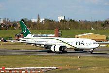 PIA Pakistan Int, Airways Boeing 777 AP-BMH Arrives 015 at BHX 2-4-2016 Postcard