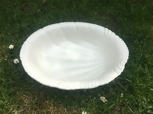 Large Vintage White Ceramic Shell Design Bowl
