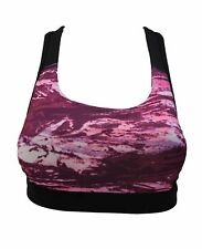 Womens Pink Yoga Sports Running Bra Crop Top Vest Stretch Shaper Padded Sexy Gym