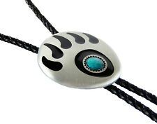 "Bear Claw Paw Bolo Tie 38"" Adjustable Leather Cord Silver Tone Enamel Turquoise"