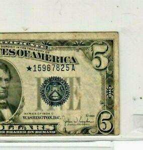 "$5 (ERROR MISCUT)!!! ""STAR""STAR""(1934-C)""SILVER CERTIFICATE"" ""STAR""STAR"" MISCUT!"