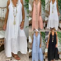 ❤️ Plus Size Womens Summer Boho V Neck Long Maxi Dress Ladies Casual Loose Dress