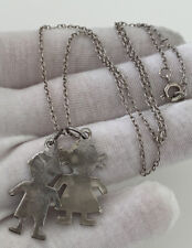Pendant On Chain, 925 Solid Silver Boy & Girl