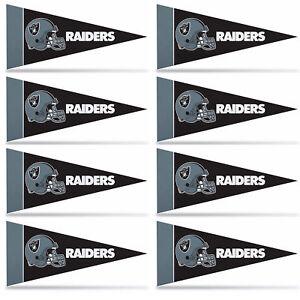 "Raiders Mini Pennant Banner Flags 4"" x 9"" Fan Cave Decor 8 Pk Set"