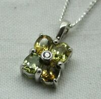 Very Lovely 9 Carat White Gold Topaz & Tourmaline Set Pendant On A Silver Chain